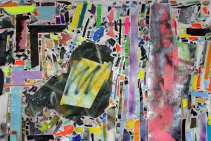 TBD REMIX (detail)  acrylic, paint marker, spray paint, tape and tyvek on plastic sheeting  91 x 123""